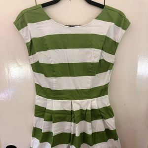 Green and white stripped party dress
